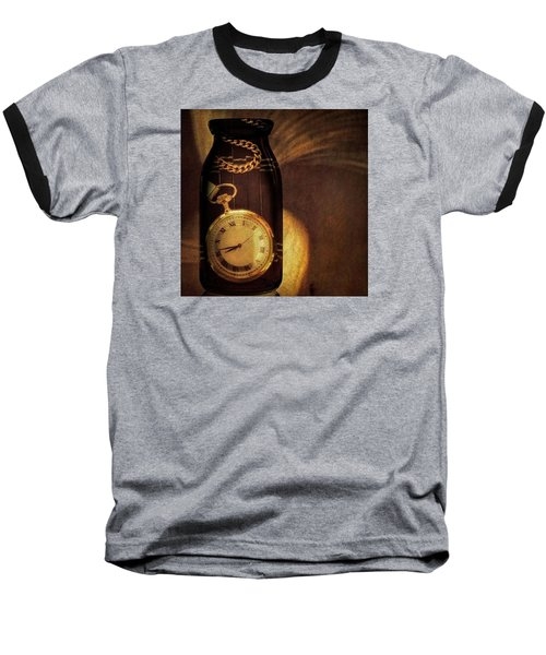 Antique Pocket Watch In A Bottle Baseball T-Shirt by Susan Candelario