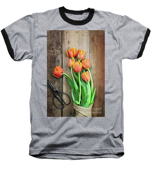 Baseball T-Shirt featuring the photograph Antique Scissors And Bouguet Of Tulips by Stephanie Frey