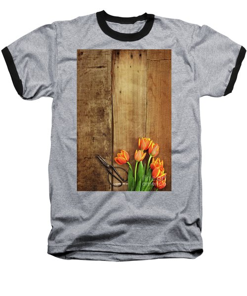 Baseball T-Shirt featuring the photograph Antique Scissors And Tulips by Stephanie Frey