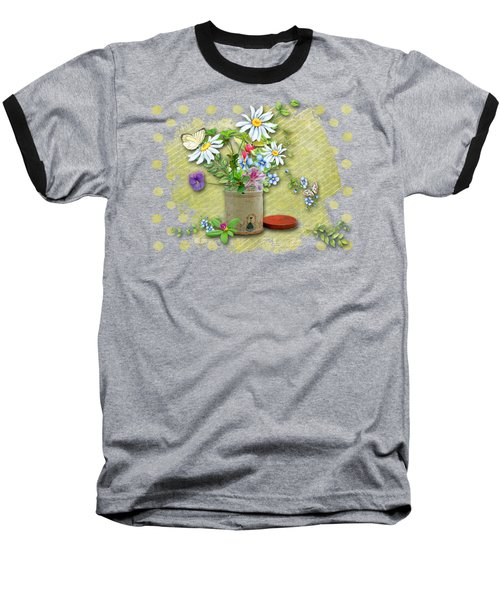 Antique Tin Of Flowers Baseball T-Shirt by Larry Bishop