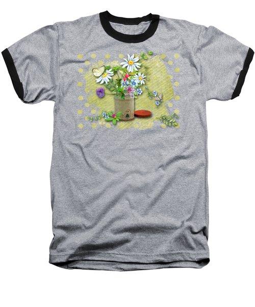Antique Tin Of Flowers Baseball T-Shirt