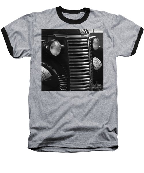 Antique Truck Black And White Baseball T-Shirt by Wilma  Birdwell