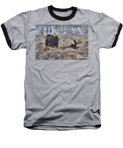 Baseball T-Shirt featuring the photograph Antlers In The Brush by Adam Jewell