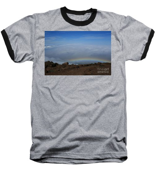 Anuenue - Rainbow At The Ahinahina Ahu Haleakala Sunrise Maui Hawaii Baseball T-Shirt by Sharon Mau