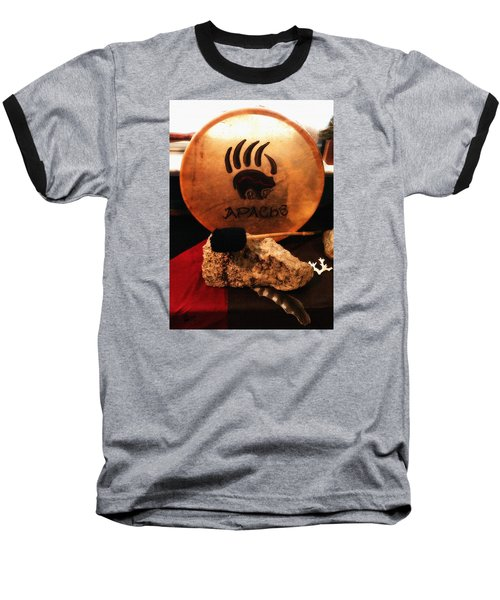 Baseball T-Shirt featuring the painting Apache Drum by Ayasha Loya