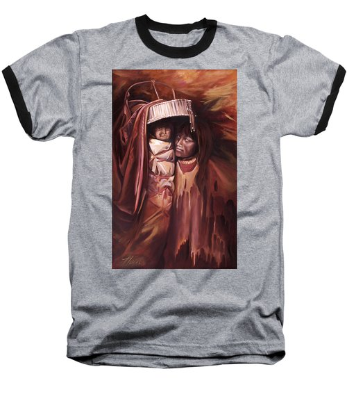 Baseball T-Shirt featuring the painting Apache Girl And Papoose by Nancy Griswold