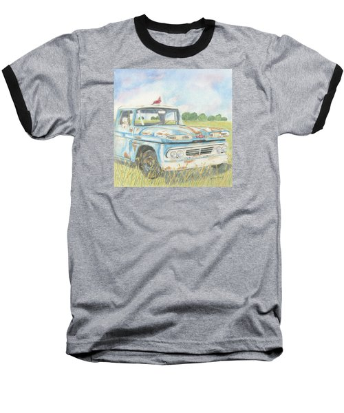 Baseball T-Shirt featuring the drawing Apache Out To Pasture by Arlene Crafton