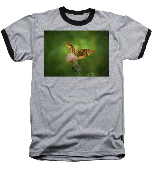 Baseball T-Shirt featuring the photograph Aphrodite Fritillary Butterfly by Sandy Keeton