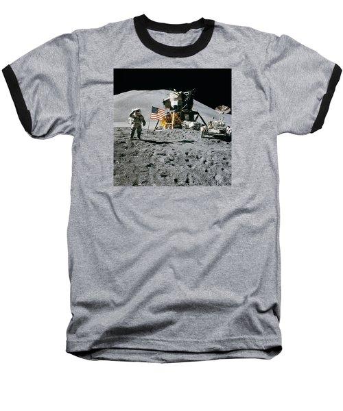 Apollo 15 Lunar Module Pilot James Irwin Salutes The U.s. Flag Baseball T-Shirt