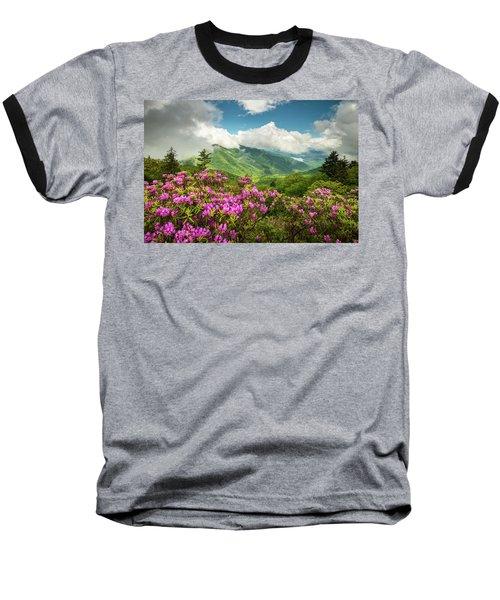 Appalachian Mountains Spring Flowers Scenic Landscape Asheville North Carolina Blue Ridge Parkway Baseball T-Shirt