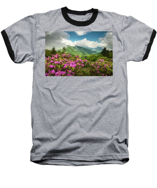 Appalachian Mountains Spring Flowers Scenic Landscape Asheville North Carolina Blue Ridge Parkway Baseball T-Shirt