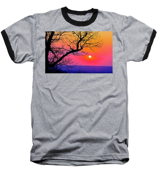 Appalcahian Sunset Tree Silhouette  #1 Baseball T-Shirt