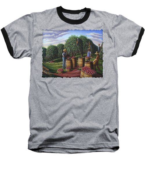 Apple Harvest - Autumn Farmers Orchard Farm Landscape - Folk Art Americana Baseball T-Shirt by Walt Curlee