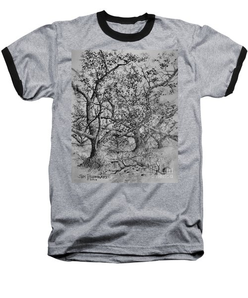 Baseball T-Shirt featuring the drawing Apple Orchard by Jim Hubbard