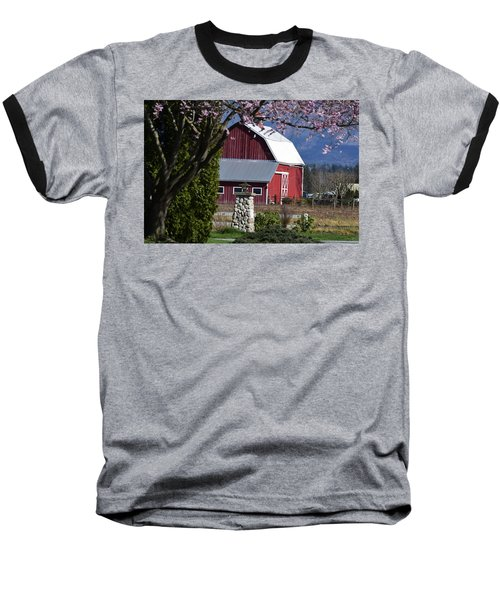 Apple Tree Pink And Barn Red Baseball T-Shirt