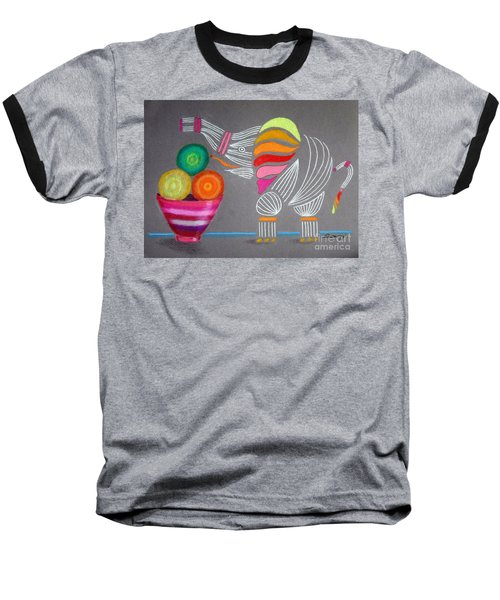Apples And Oranges And Elephants, Oh My -- Whimsical Still Life W/ Elephant Baseball T-Shirt