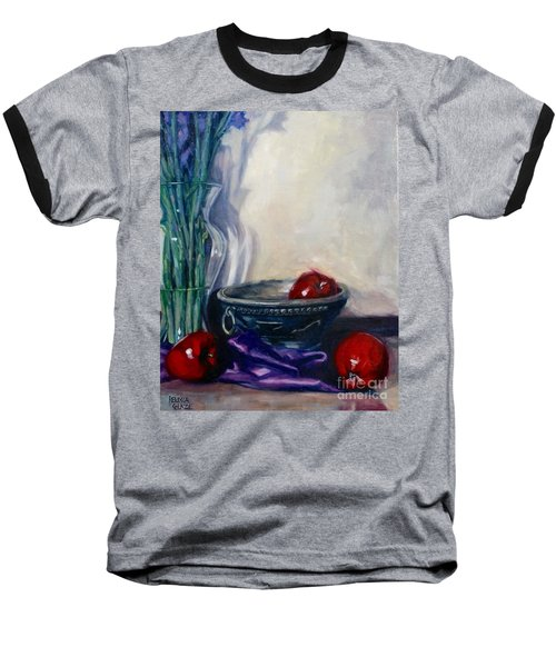 Baseball T-Shirt featuring the painting Apples And Silk by Rebecca Glaze
