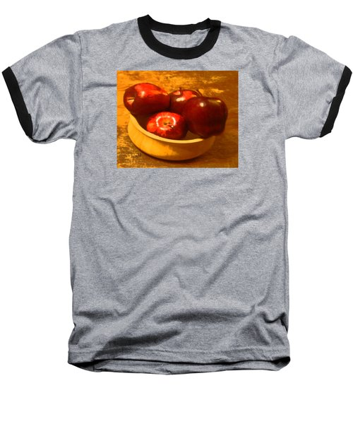Baseball T-Shirt featuring the digital art Apples In A Bowl by Walter Chamberlain