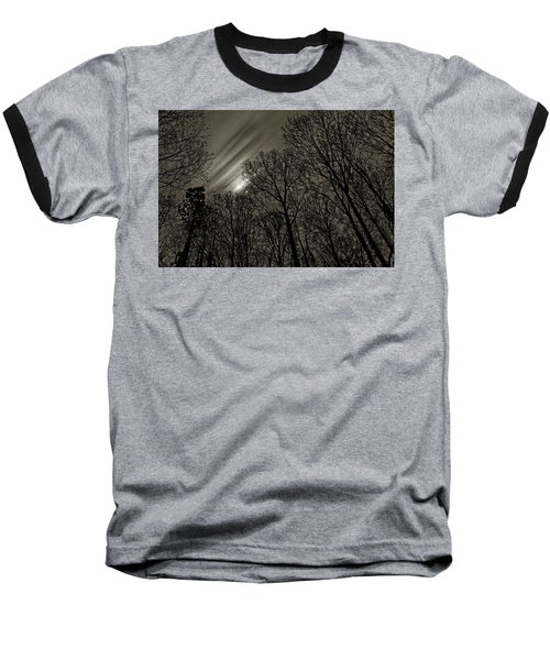 Approaching Storm, Black And White Baseball T-Shirt