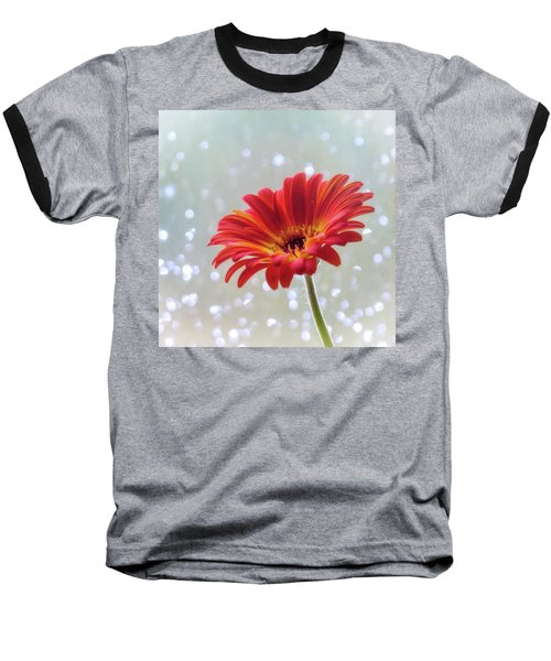 Baseball T-Shirt featuring the photograph April Showers Gerbera Daisy Square by Terry DeLuco