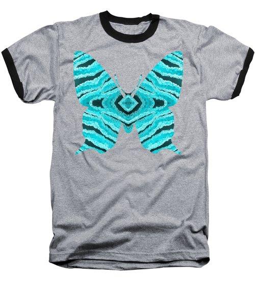 Aqua Blue Butterfly  Baseball T-Shirt