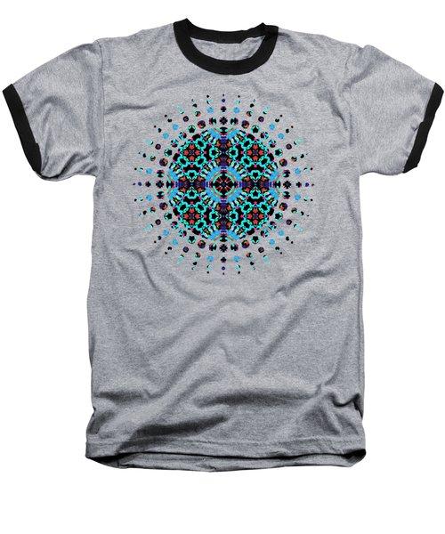 Aqua Geometric Mandala Baseball T-Shirt