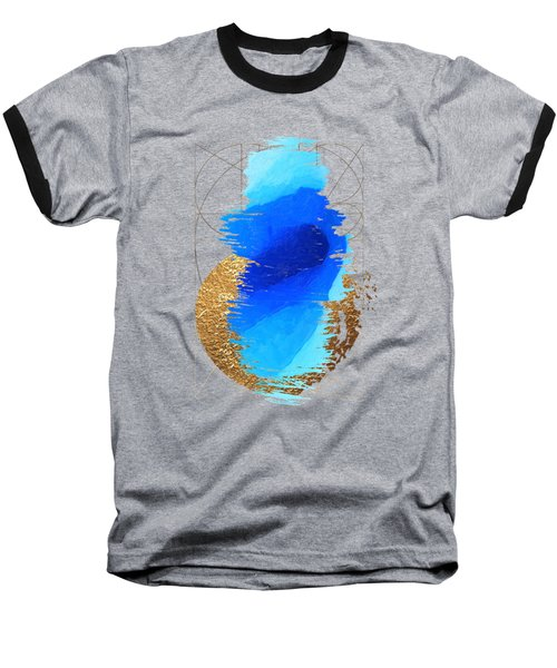 Baseball T-Shirt featuring the digital art Aqua Gold No. 2 by Serge Averbukh