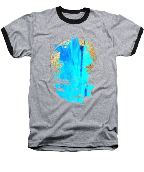 Baseball T-Shirt featuring the digital art Aqua Gold No. 4 by Serge Averbukh