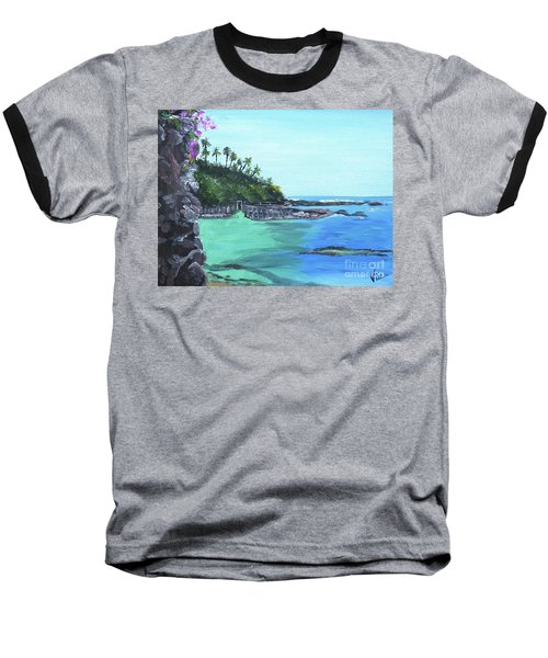 Baseball T-Shirt featuring the painting Aqua Passage by Judy Via-Wolff