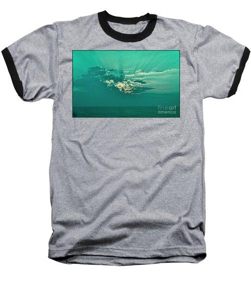 Aqua Sunset Baseball T-Shirt