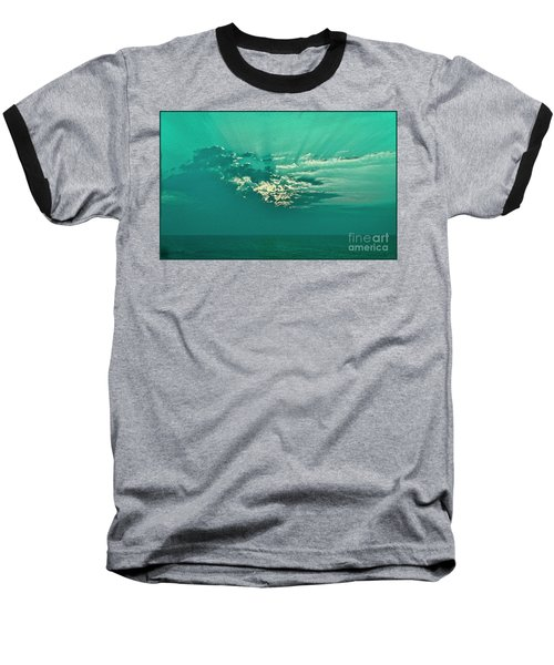 Aqua Sunset Baseball T-Shirt