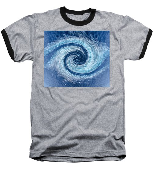 Aqua Swirl Baseball T-Shirt by Keith Armstrong