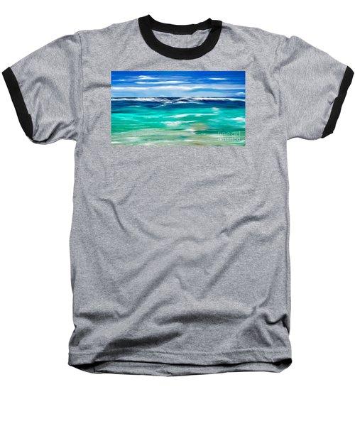 Baseball T-Shirt featuring the digital art Aqua Waves by Anthony Fishburne