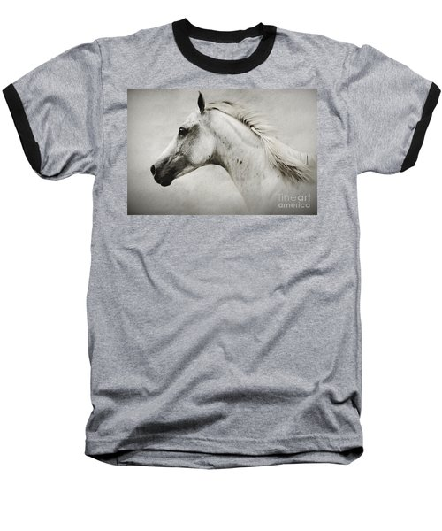 Arabian White Horse Portrait Baseball T-Shirt