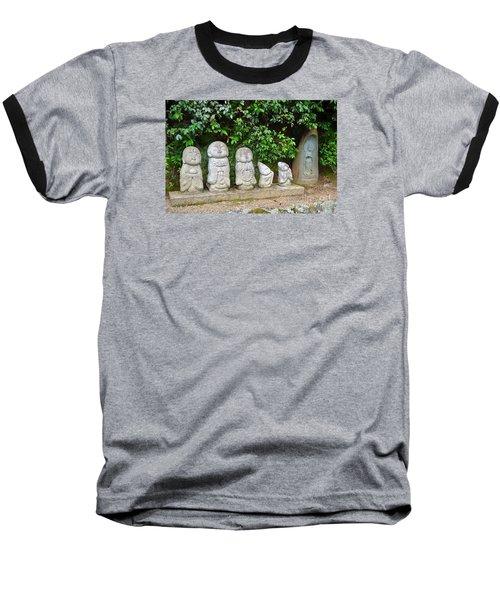 Arashiyama Street Buddah Statues Baseball T-Shirt by Eva Kaufman