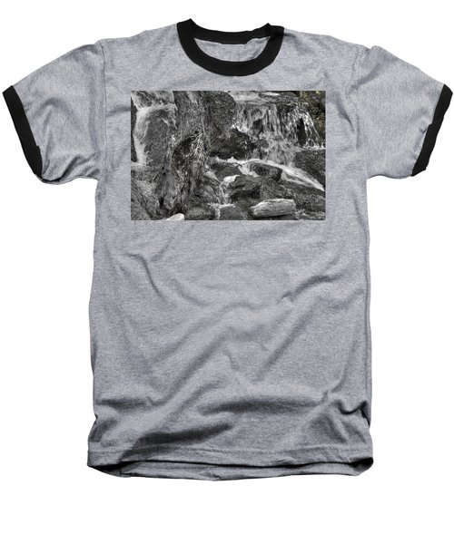 Arboretum Waterfall Bw Baseball T-Shirt by Richard J Cassato