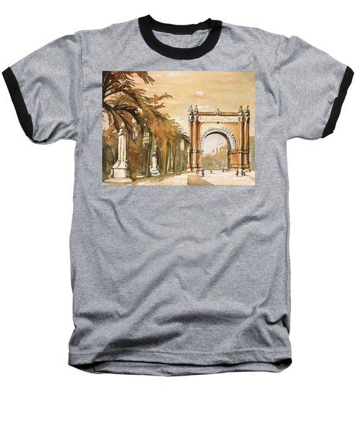 Baseball T-Shirt featuring the painting Arch- Barcelona, Spain by Ryan Fox