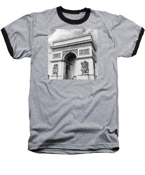 Arch Of Triumph - Paris - Black And White Baseball T-Shirt