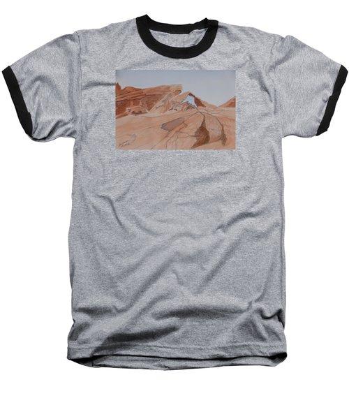 Arch Rock - A Watercolor Sketch Baseball T-Shirt by Joel Deutsch