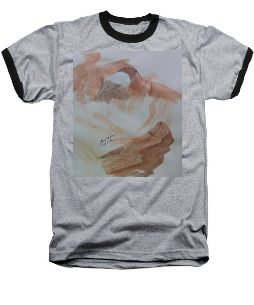 Baseball T-Shirt featuring the painting Arch Rock - Sketchbook Doodle by Joel Deutsch