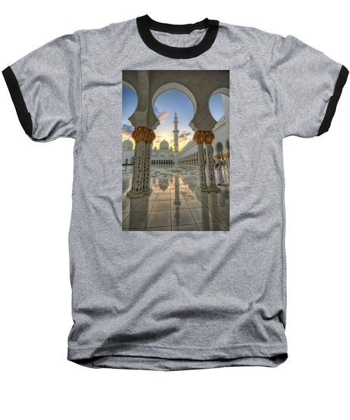 Arch Sunset Temple Baseball T-Shirt by John Swartz