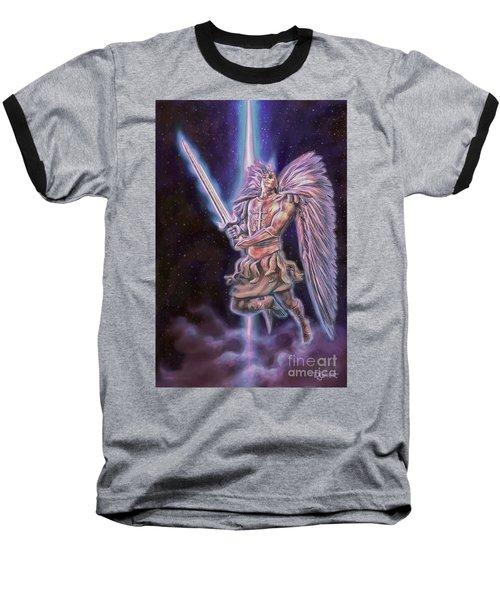 Baseball T-Shirt featuring the painting Archangel Michael - Starstuff by Dave Luebbert