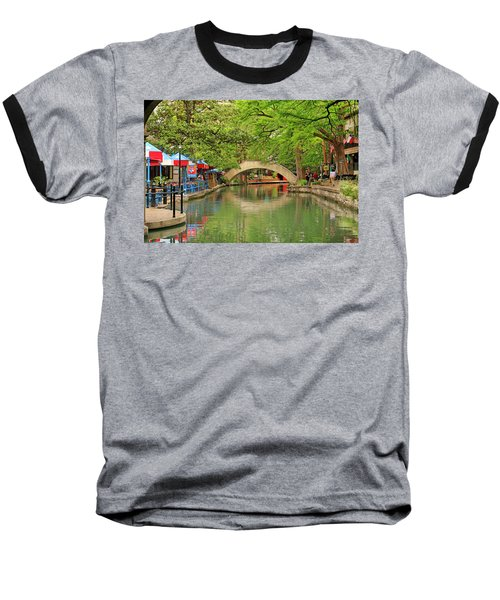 Baseball T-Shirt featuring the photograph Arched Bridge Reflection - San Antonio by Art Block Collections
