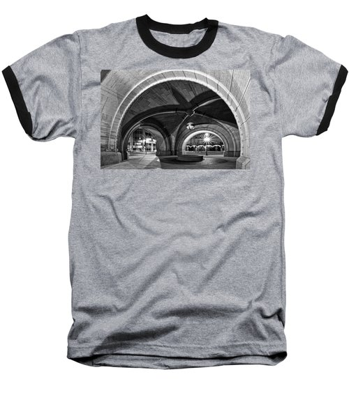 Arched In Black And White Baseball T-Shirt