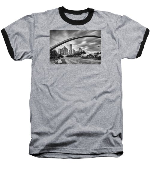 Architectural Photograph Of Post Oak Boulevard At Uptown Houston - Texas Baseball T-Shirt