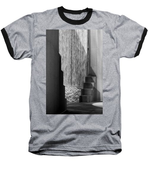 Architectural Waterfall In Black And White Baseball T-Shirt