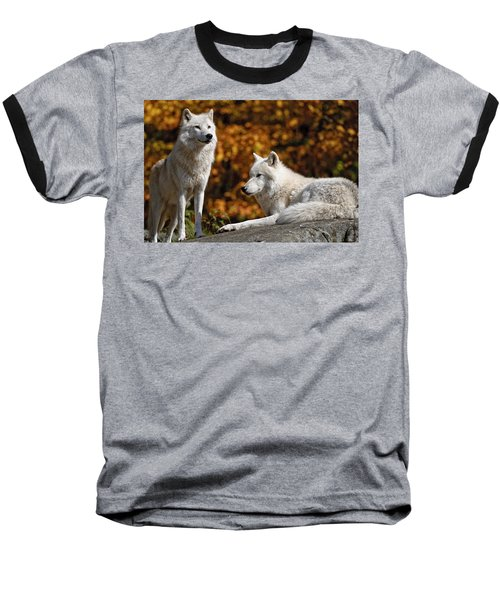 Baseball T-Shirt featuring the photograph Arctic Wolves On Rocks by Michael Cummings