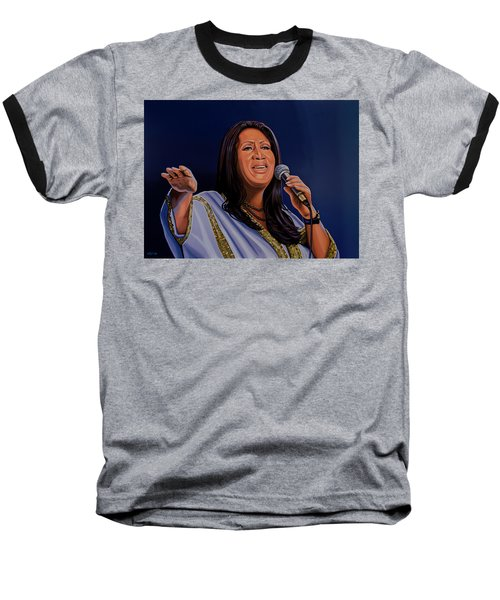 Aretha Franklin Painting Baseball T-Shirt by Paul Meijering