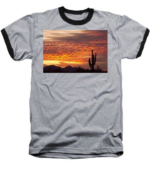 Arizona November Sunrise With Saguaro   Baseball T-Shirt
