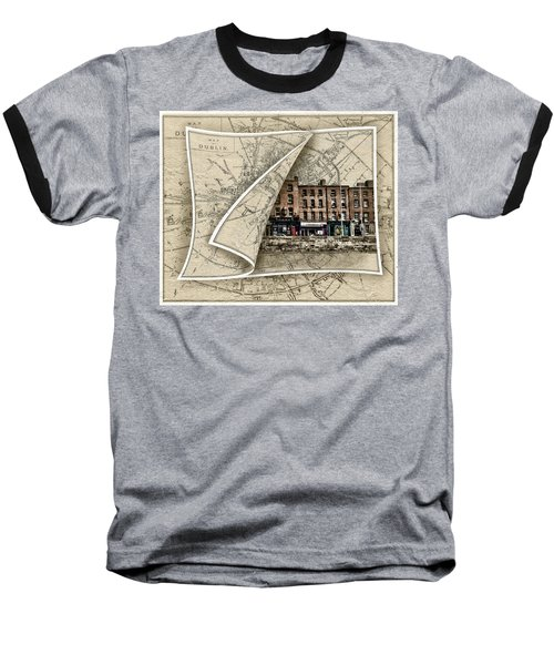 Arran Quay Dublin Map Baseball T-Shirt